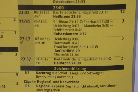 Nachtzug im DB-Fahrplan